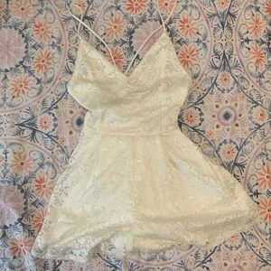 Lace Floral Print White Romper Mini Dress Backless